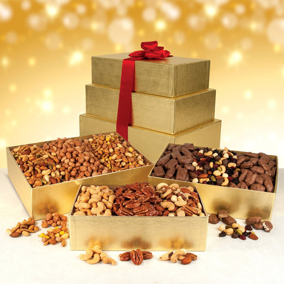3 Tier Holiday Gold Gift Boxes filled with an assortment of Nuts and Chocolate