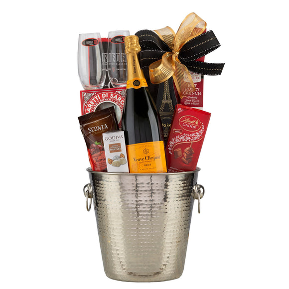 Veuve Clicquot Holiday Champagne Gift Basket with Riedel Glasses - California State Only