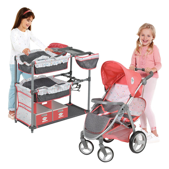 Twin Doll Play Center and Double Stroller Set