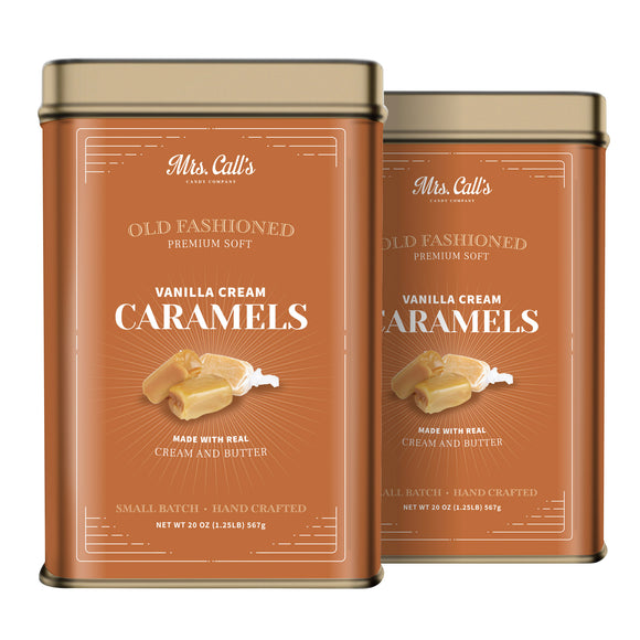 Mrs. Call's Old Fashioned Premium Soft Vanilla Cream Caramels, 20 oz, 2-count