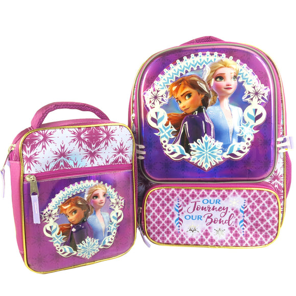 Frozen 2 Licenced Backpack with Lunch Bag, Purple