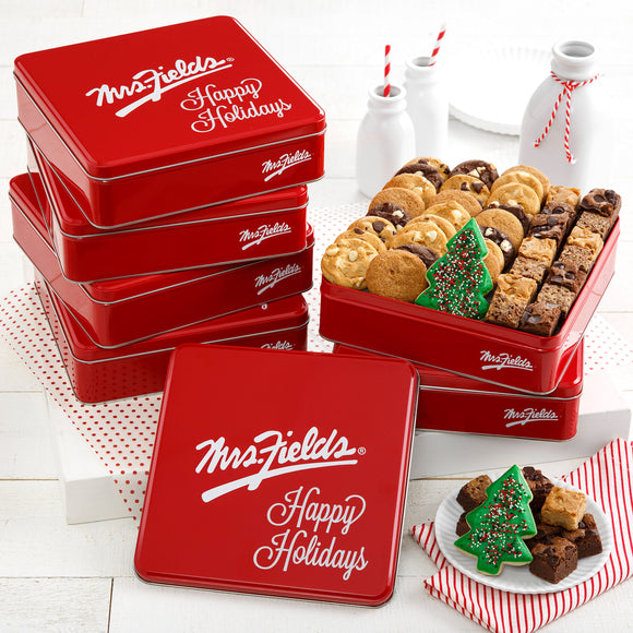 Mrs. Fields Happy Holidays Gift Tins, Case of 6