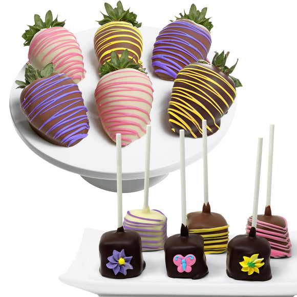 Colorful Belgian Chocolate Covered Strawberries and Cheesecake Pops 12-piece