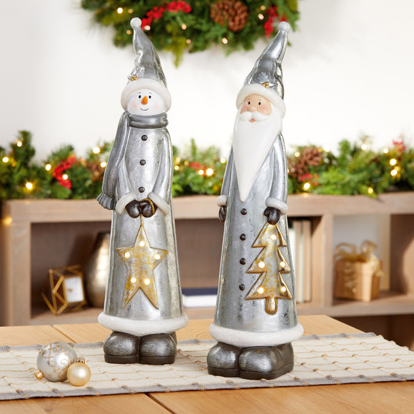 Tabletop Santa & Snowman with LED Lights