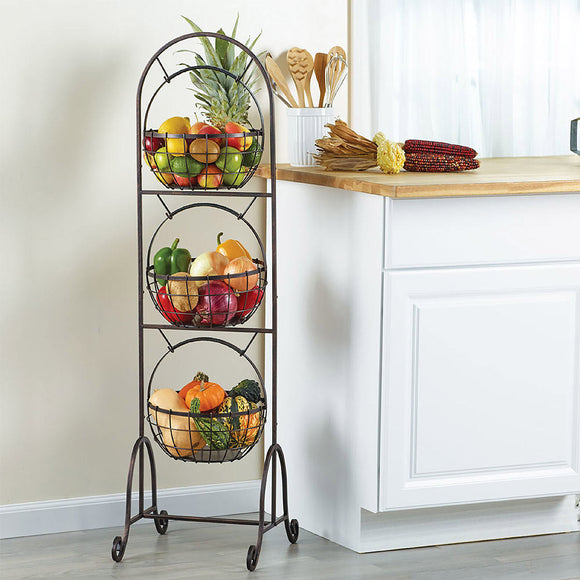 Gourmet Basics by Mikasa Homespun 3-Tier Market Basket