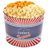 Popcornopolis 2 Gallon Good Ol' Days of Summer Popcorn Tin: Jalapeño Cheddar, White Cheddar, Kettle Corn