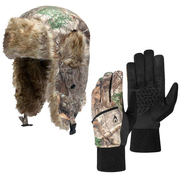 Men's Hotmocs Realtree Edge Trapper Hat & Glove Set