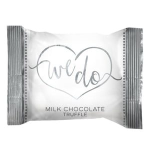 """We Do"" Belgian Milk Chocolate Wedding Truffle Bites .5 oz, 125-pack"
