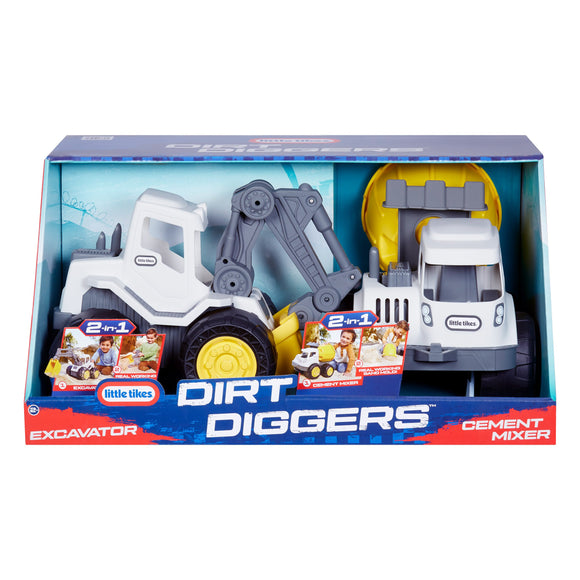 Little Tikes Dirt Diggers with Excavator & Cement Mixer, 2-pack