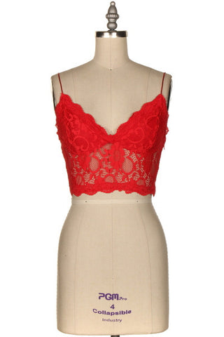 Bright Red Lace Bralette