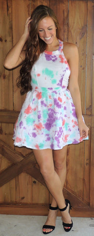 TieDye Open Back Flare Dress