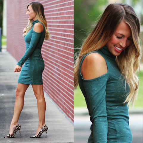 Cold Shoulder Dress - Green