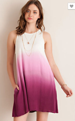 Savannah Ombre Dress- Magenta