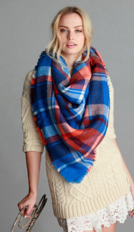 Blanket Scarf - Blue/Orange