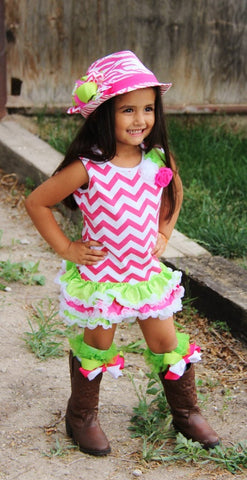 Strawberry Kiwi Chevron Dress