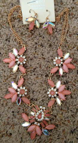 Pink Gem Necklace Set