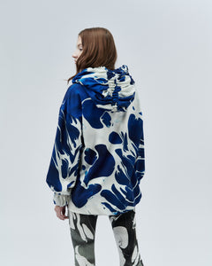 REVERSIBLE HOODIE OFELIE, blue and black marble