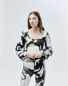 DONNA TOP WITH BALLON SLEEVES, black marble