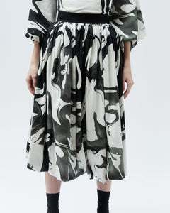 TULIP SKIRT, black marble