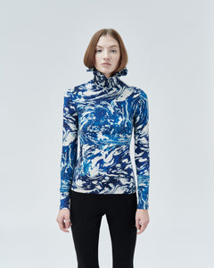 NARCISSUS HIGH-NECK TOP, blue universe