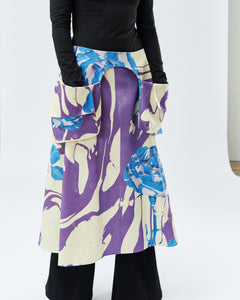 MATYLDA APRON, purple with blue roses