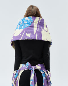 QUILTED SHRUG / SCARF, purple with blue roses