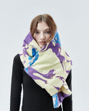 Load image into Gallery viewer, QUILTED SHRUG / SCARF, purple with blue roses