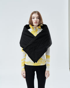 QUILTED SHRUG / SCARF WITH EMBROIDERY, black