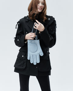 GLOVE BAG WITH BELT AND MINI STRAP, light blue