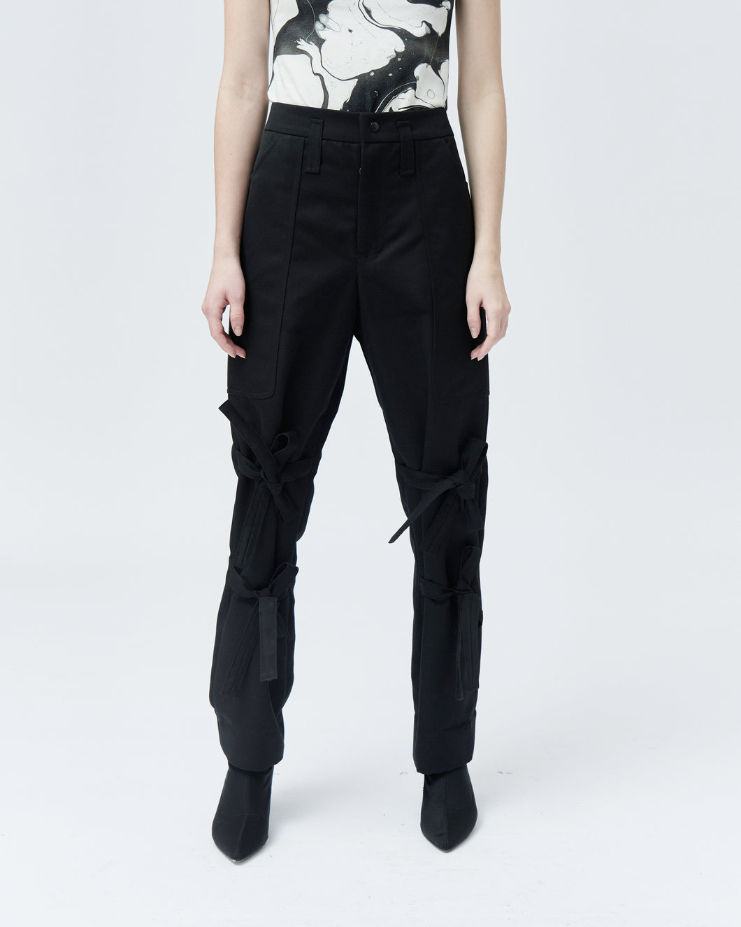 BETTY TAILORED TROUSERS WITH BOWS, black