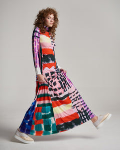 PATCHWORK LILA LONG DRESS
