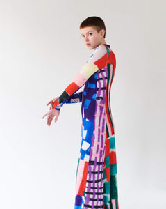 PATCHWORK LONG DRESS TRK FUN