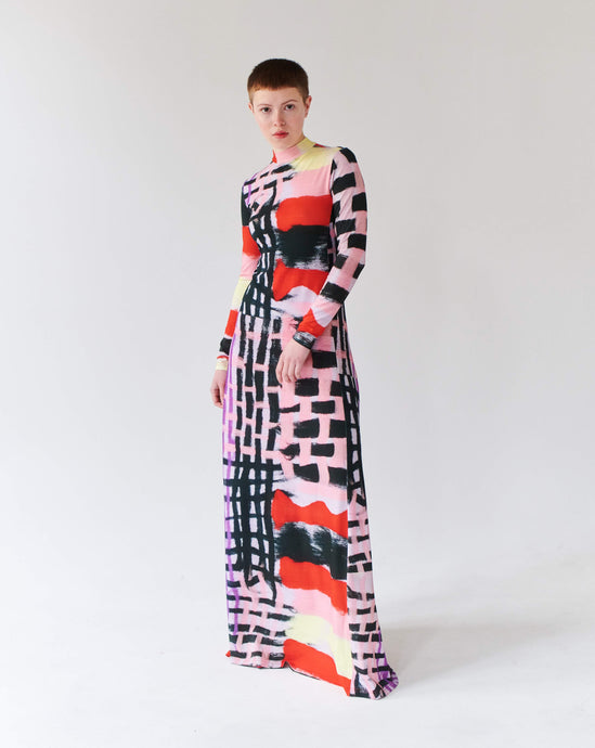 PATCHWORK LILA LONG DRESS TRK FUN COLLECTION