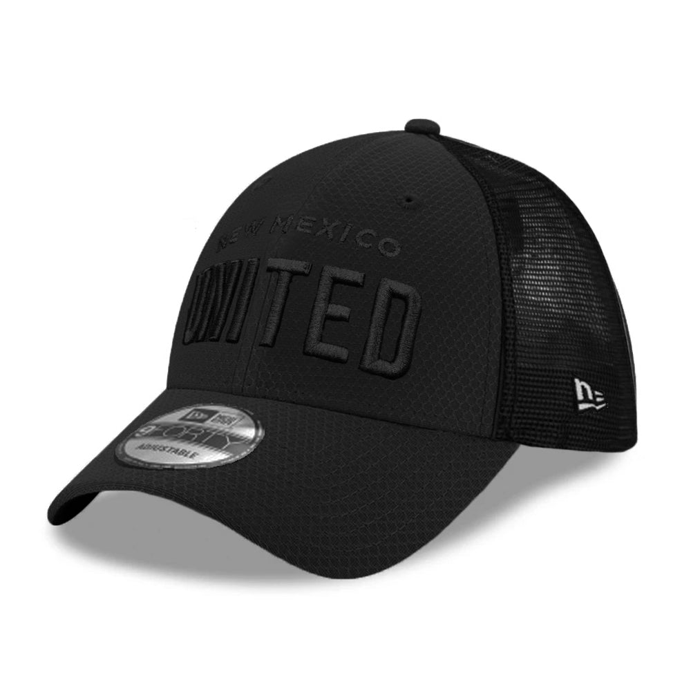 New Mexico United New Era Black on Black Wordmark Hex Tech 9FORTY - Black