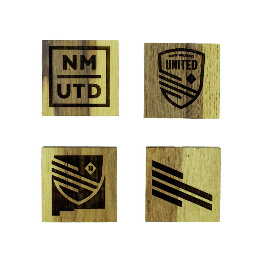 New Mexico United Wooden Coasters - Set of 4