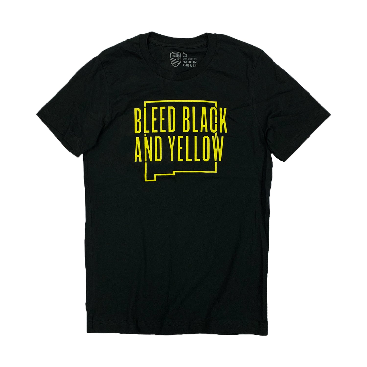 New Mexico United Bleed Black and Yellow Unisex Tee