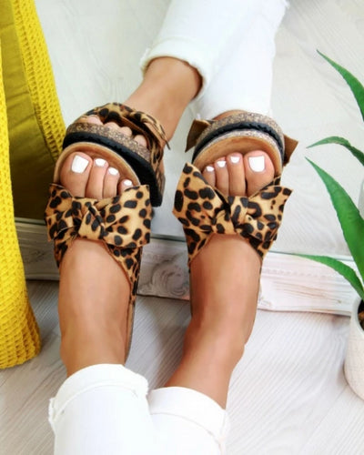 Silky Butterfly Bow Slide Sandals