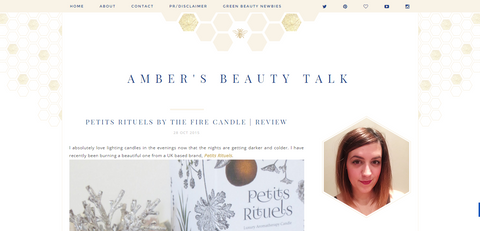 Amber's Beauty Talk screenshot of Petits Rituels' By The Fire candle review.