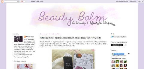 Beauty Balm blog review of Petits Rituels Floral Sensations candle (1 wick).
