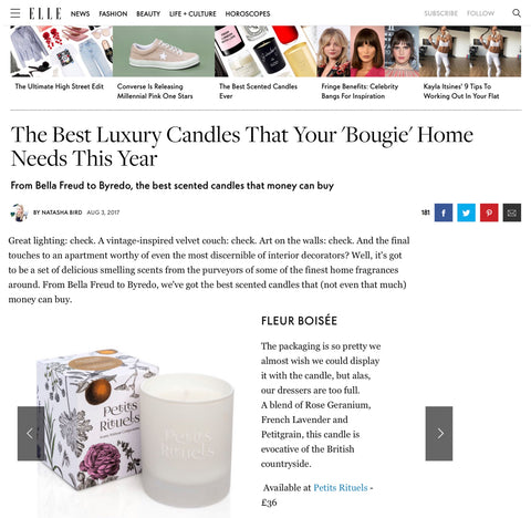 ELLE UK Best Scented candles article.