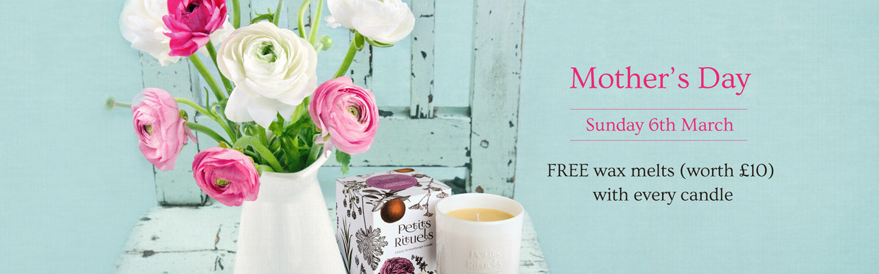 Get 2 Free wax melts with every Petits Rituels candle order for Mother's Day.