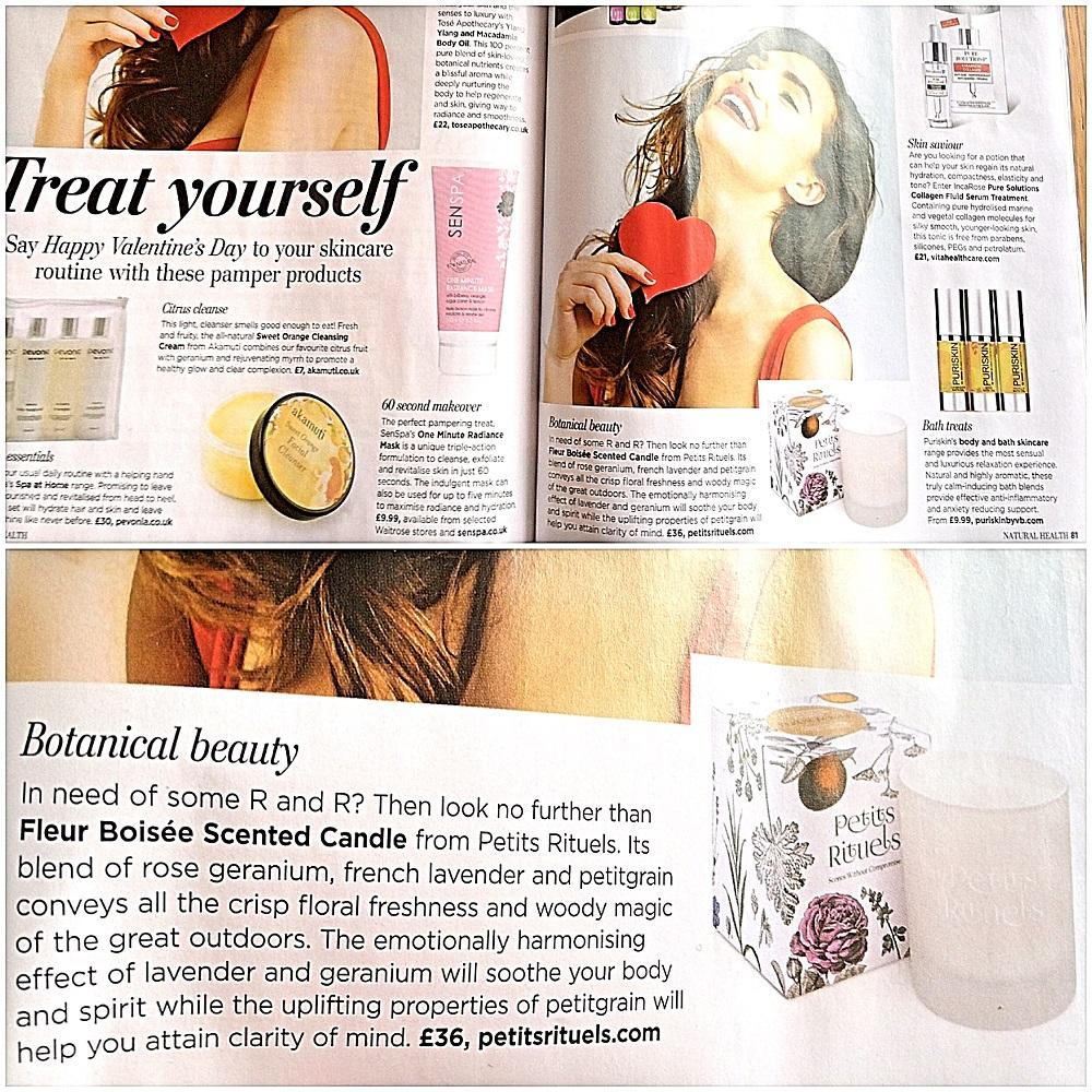 Features of Sensual Healing candle in Natural Health magazine.