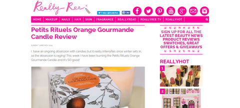 Really Ree's review of Petits Rituels Orange Gourmande scented candle.