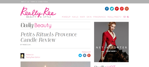 Really Ree's review of Petits Rituels Provence candle.
