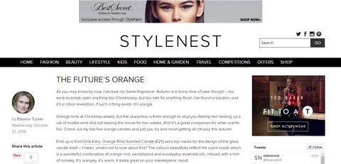 Stylenest magazine's review of Petits Rituels Orange Gourmande candle.
