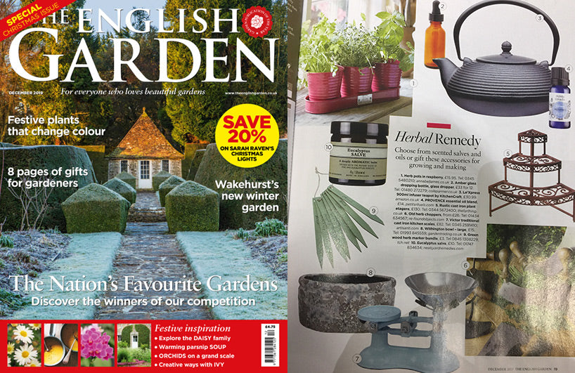 The English Garden December 2019 feature of Petits Rituels Provence essential oil blend.