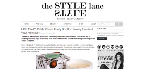 The Style Lane featuring Petits Rituels Giveaway.