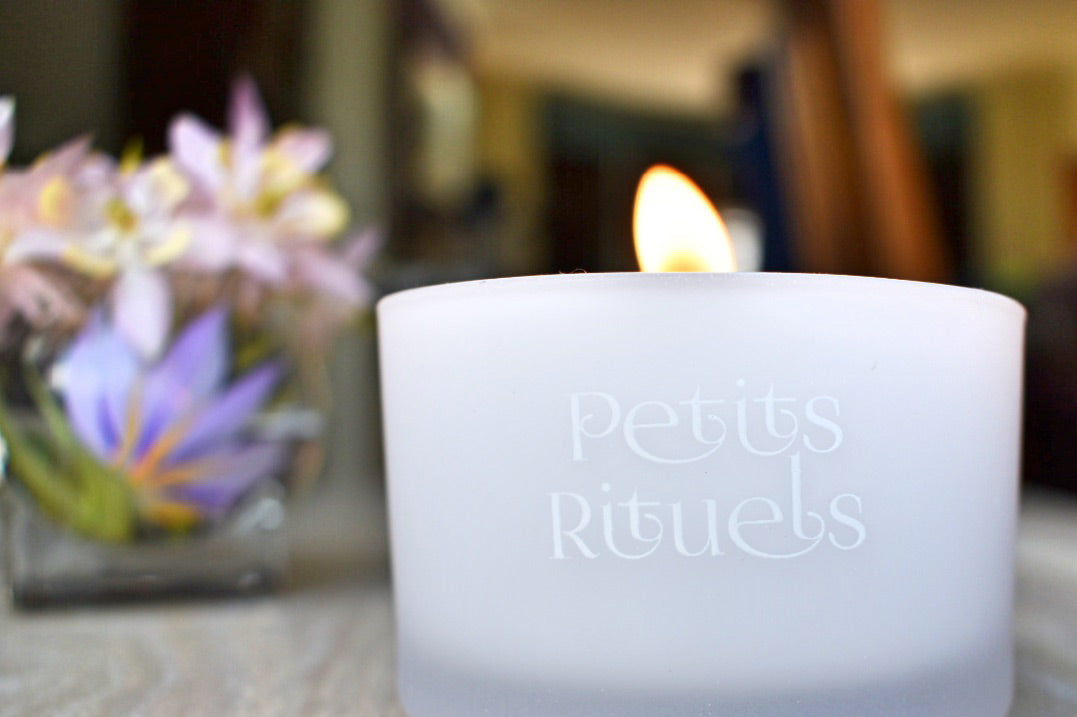 Petits Rituels candle burning in living room.