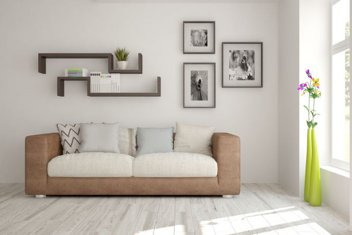 Wall-pictures in bright living room.