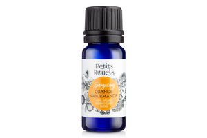 Energising diffuser blend of organic Sweet Orange and Rose Geranium in a 10ml blue aromatherapy bottle.